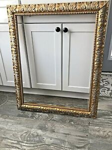 "Antique / Vintage Ornate Large Wood and Gesso Gold Picture Frame   22"" x 28"" ID"