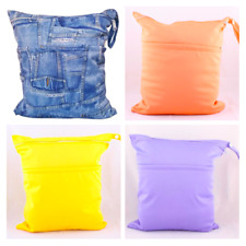 Two Zippered Wet/Dry Bag Baby Infant Diaper Nappy Tote Pouch Waterproof Reusable