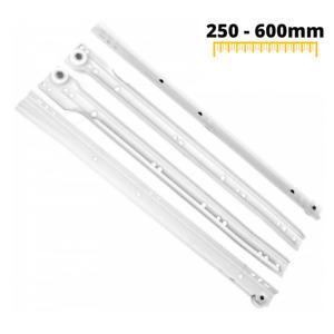 White Roller Slides Drawer Runners 250-600mm