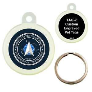 SPACE FORCE LOGO - CUSTOMIZED - PET TAG - CIRCLE Shape - Tag-Z Dog Tags