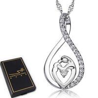 Muttertag Halskette | 925 Sterling Silber Damen | Swarovski® Kristalle | im Etui