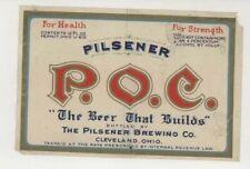 Poc Pilsener Brewing Co Beer Cleveland Ohio Irtp beer label
