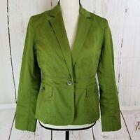 Talbots Jacket Blazer Womens Sz 4P Petite Green Long Sleeve Button Pocket Front