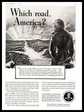 """1938 United Brewers Industrial Foundation """"Which Road America?"""" Vintage Print Ad"""
