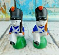Vintage Toy Soldiers Marching Ceramic Salt And Pepper Shakers