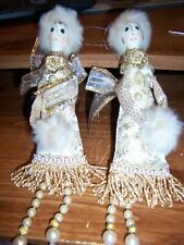 SET OF TWO handmade White & Gold Ceramic Heads/Pearl Legs Doll Ornaments