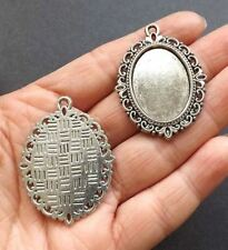 4pcs-set for 25mmX18mm Cab,silver oval pendant tray Setting,Cabochon Setting