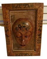 Indonesian Carved Wood Vintage Relief Mask Wall Plaque