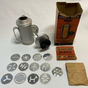 Vintage Mirro Cookie Press Pastry Aluminum with 13 Discs Original Box