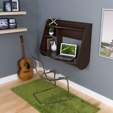 Small Brown Floating Desk Space-Saver w/Removable Shelves ~ Ez Wall Mount