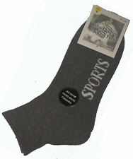 6 PAIRS SIZE 2-8 BOYS 3/4 GREY CUSHION FOOT ANKLE SPORT SOCKS