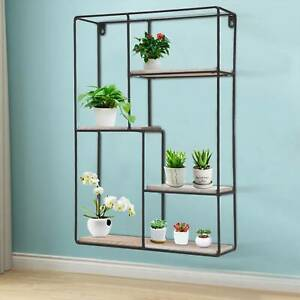 Large Rectangle Retro Industrial Style WoodWall Shelf ShelvingUnit Storage metal