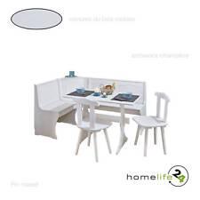 Coin de repas avec table 2 chaises et banc Pin massif blanc