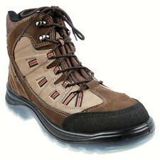 KING GEE Lace-Up Safety Boots, UK Size 6, US Size 7, Suede Combination Brown.