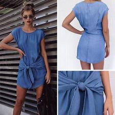 Womens Lady Casual Loose Denim Strap Shirt Blouse Jeans Wrap Short Mini Dress XL