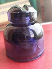 Vintage insulator Violet Purple glass wide base 1967 HEMAH RARE USSR