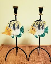 Decorative Pair of Fish Metal Candle Holders
