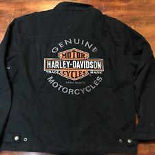 Harley Davidson Men's Size XL Jean Denim Black Riding Jacket Embroidered