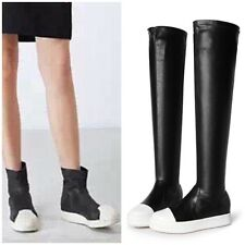 Black Leather Thigh High Sneakers or Faux Leather Ankle Boots