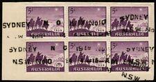 Australia 1959 Sc#334 Magi Block of 6 on Piece Nice! Sydney Cancel Used