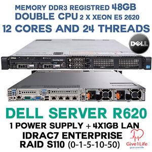 Dell R620 2x E5-2630L + 48Gb DDR3 R + 4x1GB LAN i350 + RAID S110 + IDRAC + 1 PSU