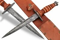 DAMASCUS STEEL BLADE REPLICA WWII FIGHTING STILETTO COMBAT DAGGER, LEATHER HANDL
