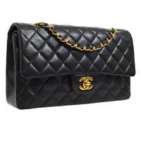 CHANEL Quilted CC Double Flap Chain Shoulder Bag Black Authentic AK31368h
