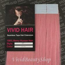 "10pcs 22"" Remy Seamless Tape Skin Weft Human Long Hair Extension Light Baby Pink"