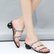 Fashion Women Summer PU Leather High Heels Slippers Rhinestone Sandals New Shoes