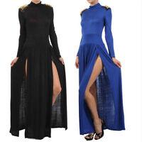 Maxi Dress S M L Spike Studded Shoulder Turtleneck Slit Thigh Split Long Sleeve