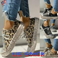 Women Casual Shoes Lace Up Rivet Canvas Ladies Leopard Printed Sneakers Party US