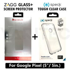 "Speck Clear Hard Case Cover For Google Pixel (5"") + Zagg Glass Screen Protector"