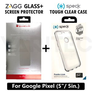"""Speck Clear Hard Case Cover For Google Pixel (5"""") + Zagg Glass Screen Protector"""