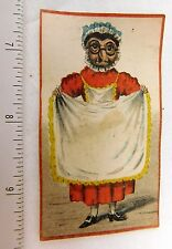 1870's Early Anthropomorphic Owl Lady Apron Bonnet Victorian Trade Card F50