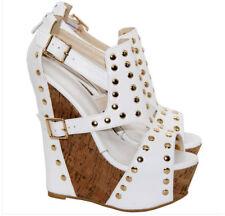 White Sexy Womens Rivet buckle Peep Toe Wedge High Heels Platform Sandals Shoes