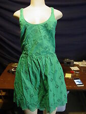 Women's Misses Aeropostale Size S green embellished sleeveless Sun Dress EUC