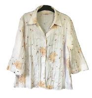 STYLE EWM Women's UK 24 Floral Botanical Applique Shirt Top Blouse Classy Chic