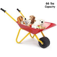 Kids Red Metal Wheelbarrow Indoor Outdoor Garden Yard Wagon Cart Tool Play Toy
