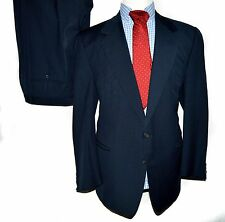 Ermenegildo Zegna  Navy Blue Suit 2 Button Pleated Slacks 46L 36x30 unvented