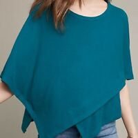 Anthropologie  Eri+ Ali  Teal Handkerchief Style Sweater  Size Small  Pre-Owned