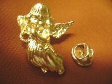 "Vintage Bright Gold Tone ""Angel"" With Wings Pin Back, Lapel Pin."