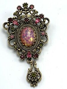Brooch Pin - Pendant - Signed Sarah Coventry - Pink - Rhinestone - Victorian