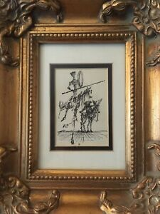 Gorgeous small framed Don Quichote litho by Salvador Dali