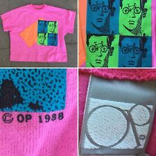 Vintage OP T-Shirt Crop Top c 1988 80s Pink With Neon Bicycle & Face Graphics M