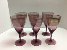 6 Amethyst Wine Glasses Panels Gold Trim