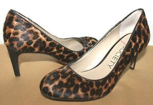 ❤️SOLE SOCIETY Isani Leopard Print Calf-Hair Fur Leather Pumps 7.5 GREAT! L@@K!3