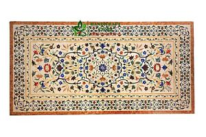 """96""""x48""""Beige Marble Inlay Table Top with Semiprecious Stones Art Dinette Table"""