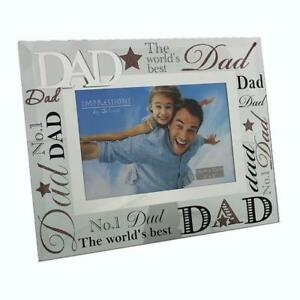Glass 6 x 4 Photo Frame with Mirror glass & Glitter Letters - Dad