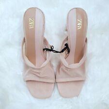 ZARA Mesh Beige Mules Methacrylate Block Heels Sandals UK5 EU38 BNWT