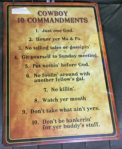 "New Cowboy 10 Commandments Metal Sign 17' x 12"" Western Decor Home Decoration"